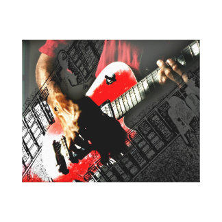 Dark hands guitar layered red image stretched canvas print