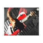 Dark hands guitar layered red image canvas print
