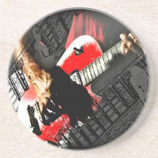 Dark hands guitar layered red image beverage coasters