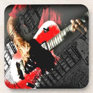 Dark hands guitar layered red image drink coaster