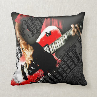Dark hands guitar layered red image pillow
