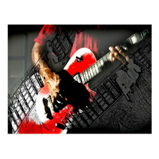 Dark hands guitar layered red image postcard