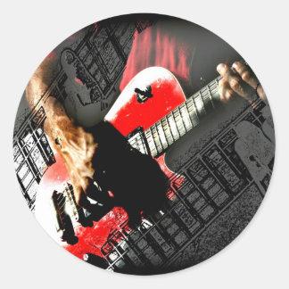 Dark hands guitar layered red image round stickers