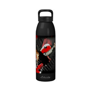 Dark hands guitar layered red image reusable water bottles