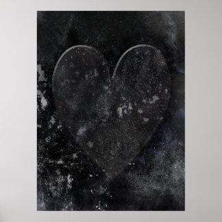 Dark Heart Art on Black Poster
