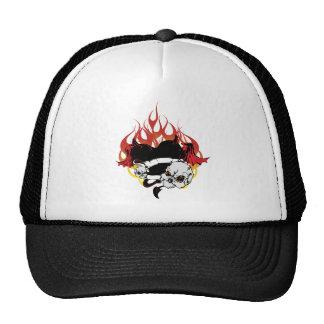 Dark Heart Black and Red Tattoo Design Mesh Hats