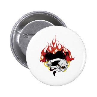 Dark Heart Black and Red Tattoo Design Pinback Button