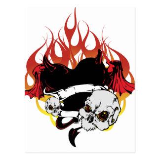 Dark Heart Black and Red Tattoo Design Postcard