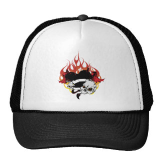 Dark Heart Black and Red Tattoo Design Trucker Hat