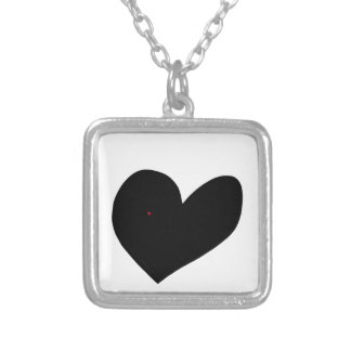 Dark heart silver plated necklace