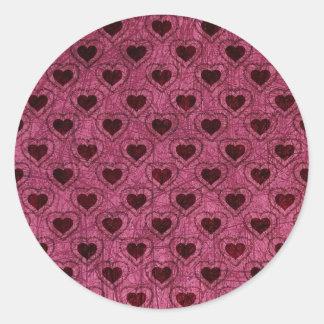 Dark Hearts Grunge Pattern Classic Round Sticker