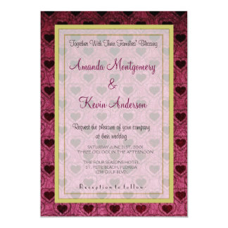 Dark Hearts Grunge Pattern Wedding Card