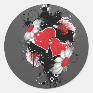 Dark Hearts on Black Classic Round Sticker