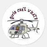 Dark Helicopter Pilot Classic Round Sticker