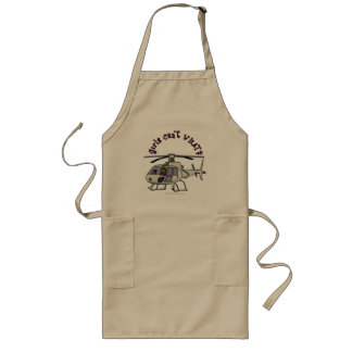 Dark Helicopter Pilot Girl Long Apron