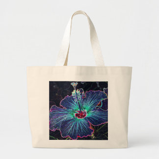 Dark Hibiscus Large Tote Bag
