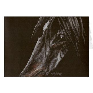 Dark Horse on Black Stationery Note Card