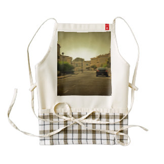 Dark hues in residential neighborhood with villas zazzle HEART apron