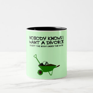 Dark humor divorce Two-Tone coffee mug