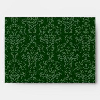 Dark Hunter Forest Green A7 Damask Envelopes