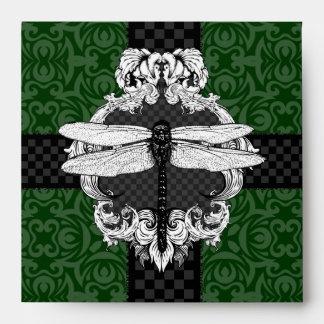 Dark Hunter Forest Green Square Dragonfly Envelope