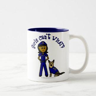 Dark K9 Police Girl Two-Tone Coffee Mug