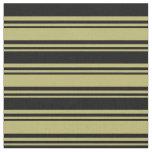 [ Thumbnail: Dark Khaki and Black Lines Pattern Fabric ]