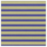 [ Thumbnail: Dark Khaki and Blue Colored Lined Pattern Fabric ]