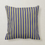 [ Thumbnail: Dark Khaki and Blue Colored Lined Pattern Pillow ]