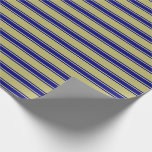 [ Thumbnail: Dark Khaki and Blue Colored Lined Pattern Wrapping Paper ]