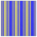 [ Thumbnail: Dark Khaki and Blue Lines Fabric ]