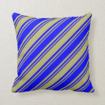 [ Thumbnail: Dark Khaki and Blue Lines Throw Pillow ]