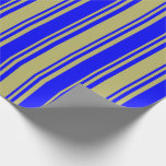 [ Thumbnail: Dark Khaki and Blue Lines Wrapping Paper ]