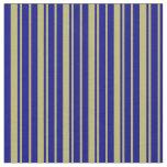 [ Thumbnail: Dark Khaki and Blue Striped Pattern Fabric ]