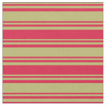 [ Thumbnail: Dark Khaki and Crimson Colored Stripes Fabric ]