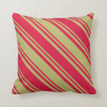 [ Thumbnail: Dark Khaki and Crimson Colored Stripes Pillow ]