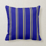 [ Thumbnail: Dark Khaki and Dark Blue Lined Pattern Pillow ]