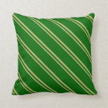 [ Thumbnail: Dark Khaki and Dark Green Stripes Pattern Pillow ]