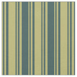 [ Thumbnail: Dark Khaki and Dark Slate Gray Stripes Fabric ]