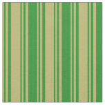 [ Thumbnail: Dark Khaki and Forest Green Colored Lines Fabric ]