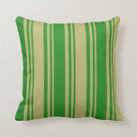 [ Thumbnail: Dark Khaki and Forest Green Colored Lines Pillow ]