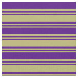 [ Thumbnail: Dark Khaki and Indigo Colored Stripes Fabric ]