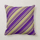 [ Thumbnail: Dark Khaki and Indigo Colored Stripes Throw Pillow ]