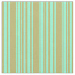 [ Thumbnail: Dark Khaki & Aquamarine Colored Lines Fabric ]