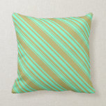[ Thumbnail: Dark Khaki & Aquamarine Colored Lines Throw Pillow ]