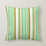 [ Thumbnail: Dark Khaki, Aquamarine, Dark Goldenrod, and White Throw Pillow ]