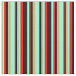 [ Thumbnail: Dark Khaki, Aquamarine, Red & Black Colored Lines Fabric ]