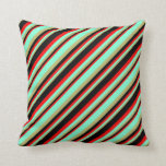 [ Thumbnail: Dark Khaki, Aquamarine, Red & Black Colored Lines Throw Pillow ]