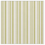 [ Thumbnail: Dark Khaki & Beige Pattern of Stripes Fabric ]