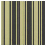 [ Thumbnail: Dark Khaki & Black Colored Stripes Pattern Fabric ]